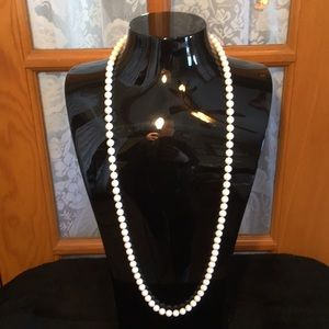 """Beaded White 34"""" Vintage Necklace"""